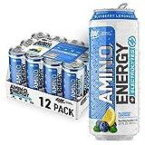 Optimum Nutrition Amino Energy + Electrolytes Sparkling Hydration Drink - Pre Workout, BCAA, Keto Friendly, Energy Powder - Blueberry Lemonade, 12 Count
