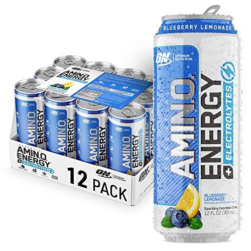 Optimum Nutrition Amino Energy + Electrolytes Fitness & Energy Drink - Sugar Free, Sparkling Hydration - Blueberyy Lemonade, 12 Count