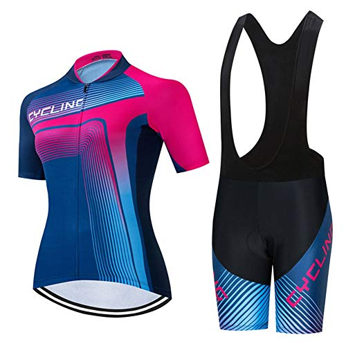 Women's Cycling Jersey, Summer Breathable Short Sleeve Cycling Top + 19D Gel Bib Shorts Padded Bike Suits (Color : C, Size : XL)