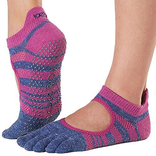 Toesox Calcetines Grip Pilates Barre para mujer - Calcetines antideslizantes para yoga y ballet, Mujer, Calcetines, YTOEWTBELLARINAATOM-S, Púrpura (Atomica), Medium