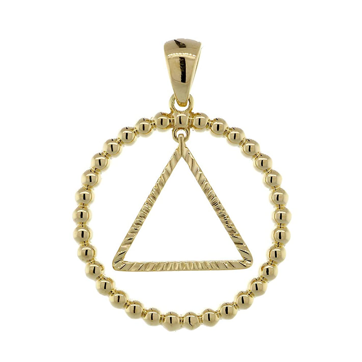 25mm AA Sobriety Charm Beaded Circle and Diamond Cut Movable Triangle