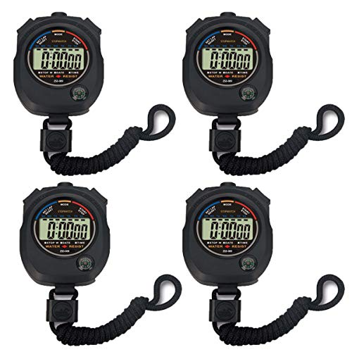Pgzsy 4 Pack Multi-Function Electronic Digital Sport Stopwatch Timer, Large Display with Date Time and Alarm Function,Suitable for Sports Coaches Fitness Coaches and Referees