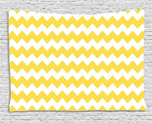 ABAKUHAUS Chevron Amarillo Tapiz de Pared, Antiguo Adorno De Sharp, para el Dormitorio Apto Lavadora y Secadora Estampado Digital, 150 x 100 cm, Tierra Blanco Amarillo