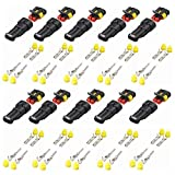 Kiwochy 10 Set 2 Pin Connector Plug Waterproof 2 Pole Quick Connector Car Waterproof Connector Connector HID Connector for Car Motorcycle Auto Electrical Wire Connector Plug Kit