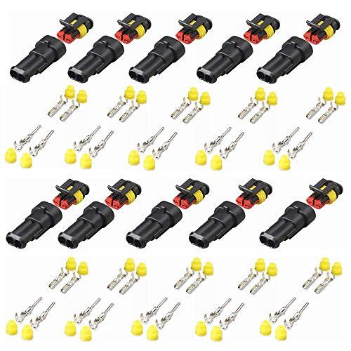 Kiwochy 10pcs 2 polos conectores Juego conector impermeable conector enchufable conector eléctrico impermeable conector HID de alta calidad para vehículos de motor kayak barcos scooter motocic