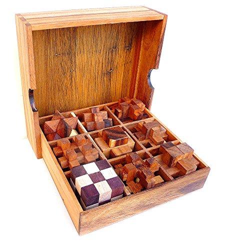 Logica Jeux Art. Set Bois 9 en 1 - Lot de Casse-tête 3D en Bois - Coffret en Bois Précieux - Toutes Le Difficultés