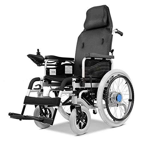 SISHUINIANHUA Elektrorollstuhl, Elektroantrieb oder als manueller Rollstuhl, Rollstuhl mit hoher Rückenlehne, Sitzbreite: 43 cm, Gewicht 100 kg
