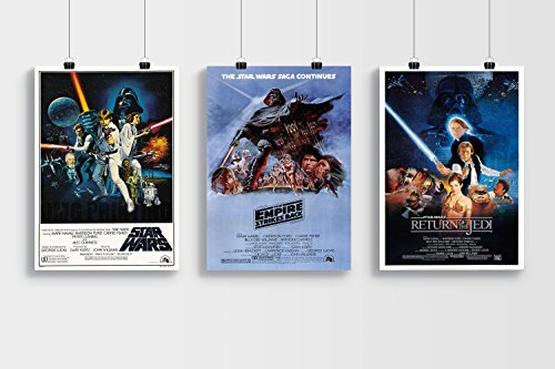 OMG Printing Star Wars Trilogy A3 Poster Set – Star Wars, Empire Strikes Back & Return of The Jedi