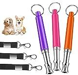 Sunshine smile Lot de 3 sifflets professionnels pour chien - Ultra silencieux - Haute fréquence - Avec porte-clés - Réglable