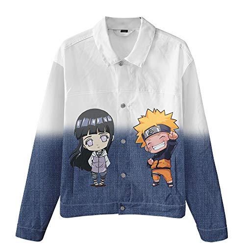 FJLOVE Chaqueta Vaquera Delgada Anime Uzumaki Naruto Y Hyga Hinata Disfraz De Cosplay Abrigo De Jeans con Botones Camisas De Manga Larga Rompevientos Informal,M