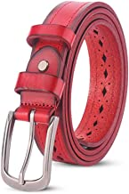 Women's Leather Belt All-match Alloy Hollow Needle Buckle Belt Fashion (Color : Red, Size : 110cm)