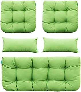 QILLOWAY Outdoor Patio Wicker Seat Cushions Group Loveseat/Two U-Shape/Two Lumbar Pillows for Patio Furniture,Wicker Loveseat,Bench,Porch,Settee of 5 (Green)