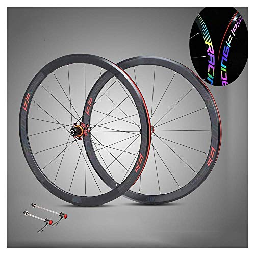 Bicycle Wheels 700C Rear Wheel and Front Wheel, 40Mm Double Wall Aluminum Alloy BMX Rim Quick Release Road Bike Wheelset 8 9 10 11 Speed - Reflective Logo