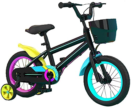 Girls Bike For 2-8 Years Child 12 and 14 and 16 Kids Bicyle With Basket Hand Brake & Training Wheels(white black)-Black_40cm/15.7in