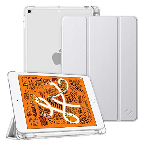 Fintie Hülle mit Pencil Halter für iPad Mini 5 2019 - Ultradünne Superleicht Schutzhülle mit transparenter Rückseite Abdeckung mit Auto Schlaf/Wach für 2019 iPad Mini (5. Generation), Silber