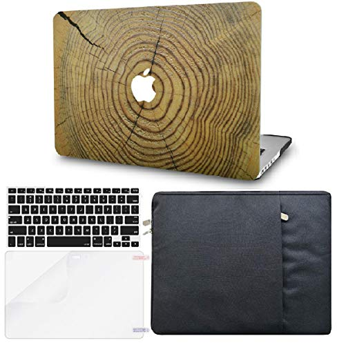 KECC Laptop Case Compatible with MacBook Pro 13' (2021/2020, Touch Bar) w/Keyboard Cover + Sleeve + Screen Protector (Bundle) Hard Shell A2338 M1 A2289 A2251 (Cracked Wood)