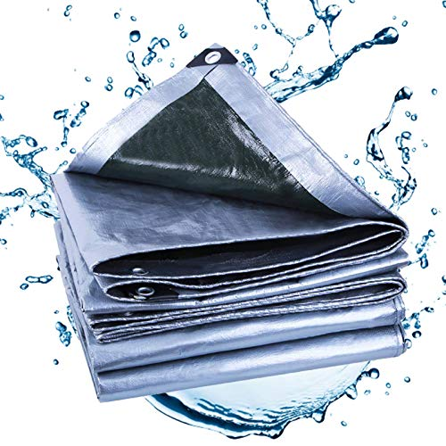ZGQ Lonas Impermeables Exterior 9x18ft/3x6m, Resistente 12 Mil De Espesor Multiusos Lona Plata, con Ojales Lona De Protección Ideal para Lona De Toldo Barco Carpa Cubierta De Piscina
