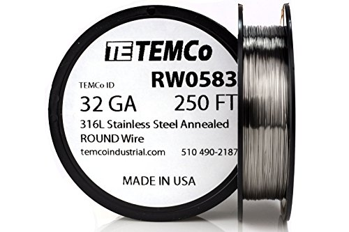TEMCo Stainless Steel Wire SS 316L - 32 Gauge 250 FT Non-Resistance AWG ga