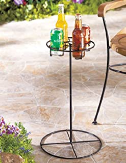 LDI Patio Furniture Metal 4 Beverage Drink Holder Table in Black - Great for Camping