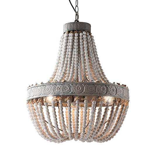 Newrays Wood Beaded Chandelier Pendant Three Lights Gray White Finishing Retro Vintage Antique Rustic Kitchen Ceiling Lamp Light Fixtures(Middle)