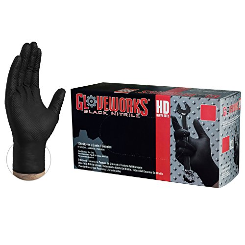 GLOVEWORKS HD Industrial Black Nitrile Gloves with Diamond Grip Box of 100, 6mil, Size Large, Latex, Powder Free, Textured, Disposable, GWBN46100-BX