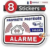Lot de 8 Stickers / Autocollant Alarme Vidéo Surveillance - Alm7 x8
