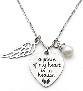 IDLAN Memorial Jewelry A Piece of My Heart is in Heaven Necklace Angel Wing Stainless Steel Necklace Memorial Gift