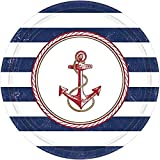Amscan Anchors Aweigh Party Plates, 10.5', 8 Ct.