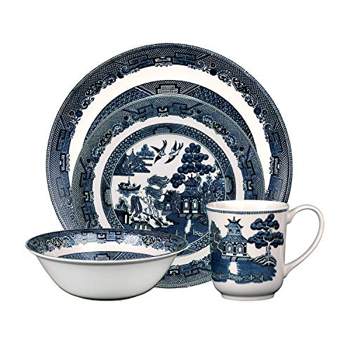 Johnson Brothers Willow 4 Piece Place Setting, blue and white
