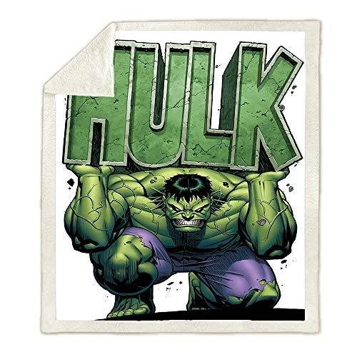 HLSM Hulk Coperta in pile per bambini, con stampa Avengers Marvel in pile, per adulti e bambini, ottima idea regalo per bambini (A04,150 x 200 cm)