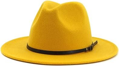 HUDANHUWEI Women's Classic Wide Brim Fedora Hat with Belt Buckle Felt Panama Hat