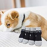 Handfly Juego de 4 Calcetines de algodón para Mascotas, Calcetines Antideslizantes para Perros, Calcetines para Gatos, Protector de Pata de Gato, Ropa Interior para Gatos pequeños y medianos