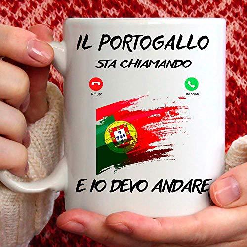 Taza Portugal apta para desayuno, té, tisana, café, capuchino. Gadget Taza Il Portugal Mi Sta llamando y yo debo Andare. Idea de regalo original