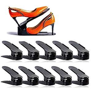 LOBKIN Set de 10pcs de Organizadores Ajustables de Zapatos con Ranuras Soportes de Calzado Apilador para Zapatos Ahorro de Espacio (Negro)