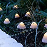 HanOBC Cadena de luces solares de hongos de 12 pies, 12 LED, funciona con energía solar, resistente al agua, luces LED decorativas para jardín, patio, decoración