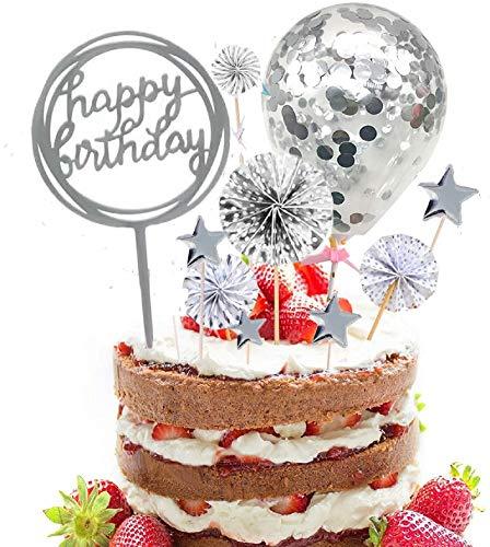 SunAurora Happy Birthday Topper Decoración, Corazones Estrellas Cake Cupcake Topper, Confeti Globos Decoración para Tartas, para Cumpleaños, Baby Shower, Fiesta (Plata)