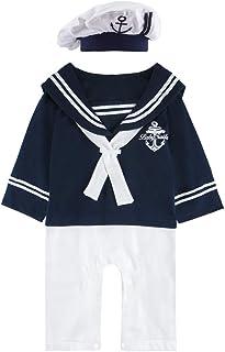 MOMBEBE COSLAND Baby Jungen Matrose Kostüm Strampler mit Hüte Langarm