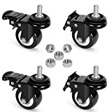 8T8 Replacement Locking Casters with Screw in Stem 3/8'',Set of 4, Heavy Duty Rubber Caster Wheels with Hex Nut,Caster wheel 3/8