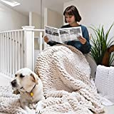 ERLYEEN Chunky Knit Blanket Throw Chenille Cable Handmade Chunky Knit Throw Blanket Warm Soft Cozy for Bed Chair Sofa Best Gift,Beige 40'x40'(Single Sofa)