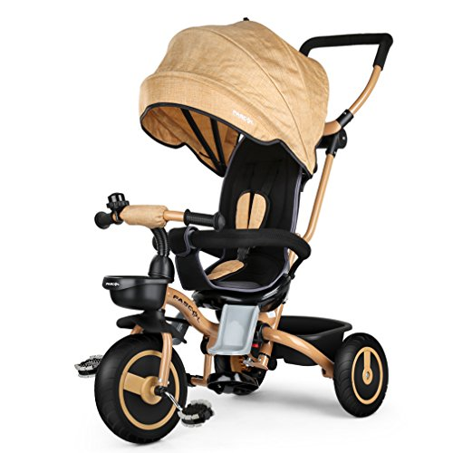 Fascol Tricycle Evolutif Velo Bébé Pliable Poussette avec Canne et Roues Silencieuses pour Enfant...
