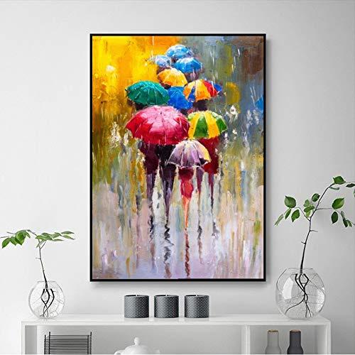 Abstraktes buntes Regenschirmlandschaftsölgemälde gedruckt auf Leinwandplakaten und druckt Wohnzimmerdekoration Wandkunst rahmenlose Dekorationsbilder A62 70x100cm
