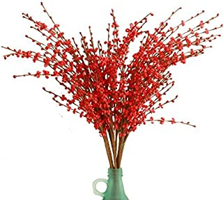 """MISSWARM 10 Pieces 29.5"""" Long of Jasmine Artificial Flower Artificial Flowers Fake Flower for Wedding Home Office Party Hotel Restaurant Patio or Yard Decoration(Red)"""