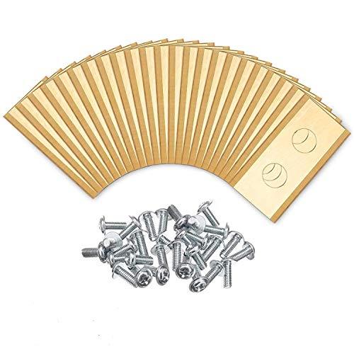 O'woda 30x Titan Messer Klingen Mähroboter Ersatzmesser für Worx Landroid + 30 Schrauben,Rasenroboter Ersatzmesser Ersatzteile Zubehör,Automover (Gold)