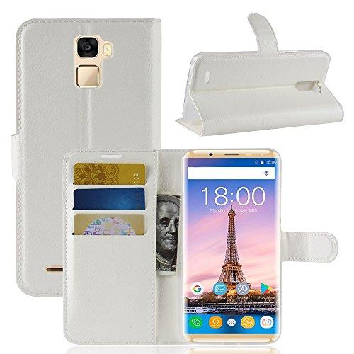 TenYll Oukitel K5000 Wallet Tasche Hülle, PU Schutzhülle [Premium Leder] [Ultra Slim] [Card Slot] [Ständer] Flip Wallet Hülle Etui für Oukitel K5000 -Weiß