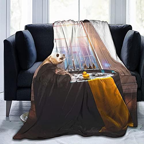 Panda Badeente in der Badewanne, Badeente mit Sonnenschein, weiche Fleece-Decke, leichtes Flauschiges Flanell, Klimaanlage, Steppbett