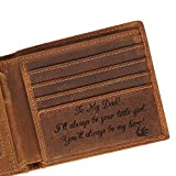 Engraved Leather Men Wallet - Customized Father's Wallets - Personalized Unique Gift For Dad As Birthday, Christmas and Father's Day Gift