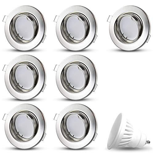 Decoro   Faretto a LED SMD 230V 8W, bianco caldo, a incasso, per soffitto, in acciaio inox spazzolato moderno Set da 7
