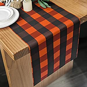 halloween table runner buffalo check polyester runner black pumpkin color checkerboard for halloween party decoration anniversary dinner outdoor supplies birthday party decorations 12×72 inches silk flower arrangements