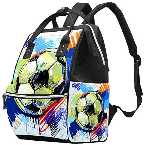 Mumien-Wickeltasche, multifunktional, Laptop-Rucksack, wasserdicht, Wickeltasche, Reisetasche, Wickeltasche, Arzttasche, Schule, Tagesrucksack, Wasserfarben, Fußball, Fußball