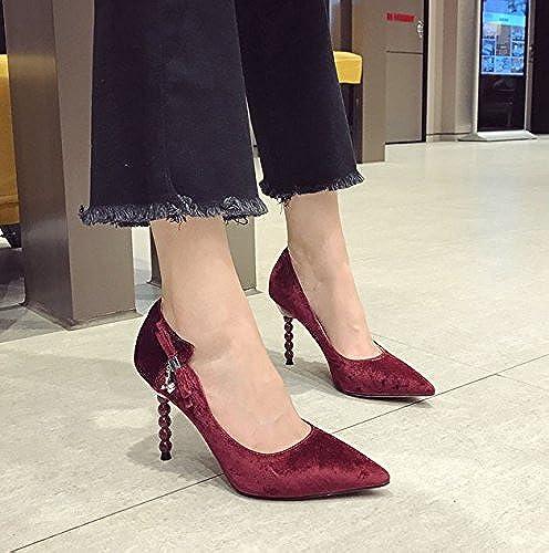 MDRW-Dame élégante Travail Loisirs Printemps Surface En Velours Arc Arc Bouche Peu Profonde Tête Pointue 9 5 Cm Sexy High Heels Chaussures Unique Vin Rouge Talons Fins Chaussures De Travail